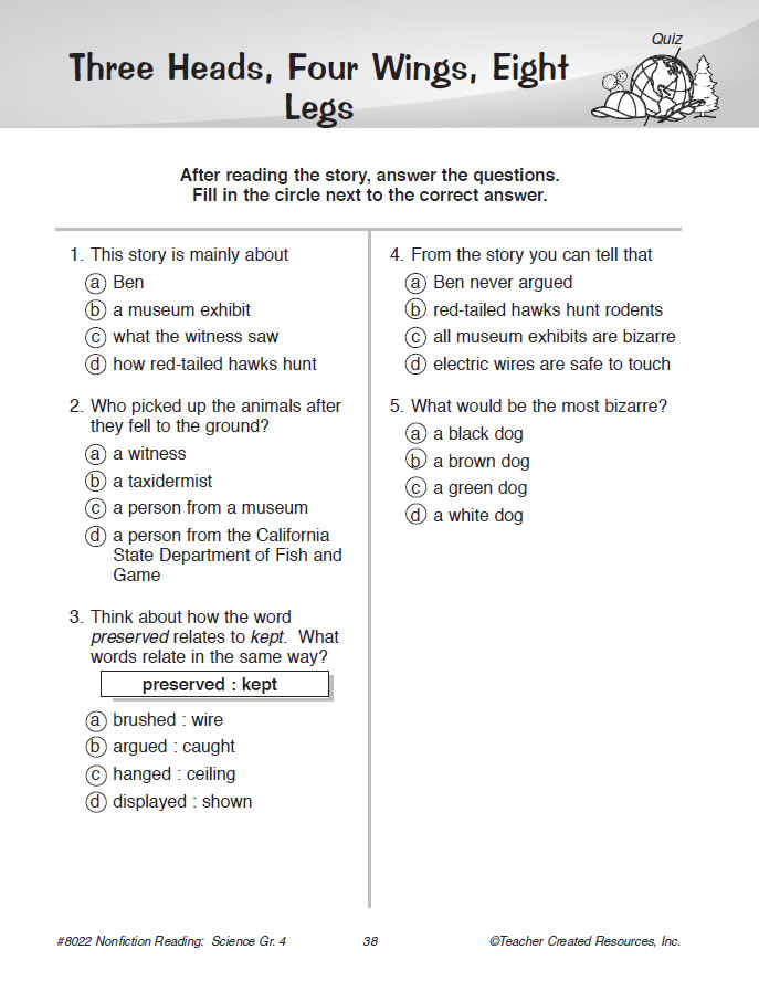 Nonfiction Reading Comprehension Science Grade 4 – Science Comprehension Worksheets