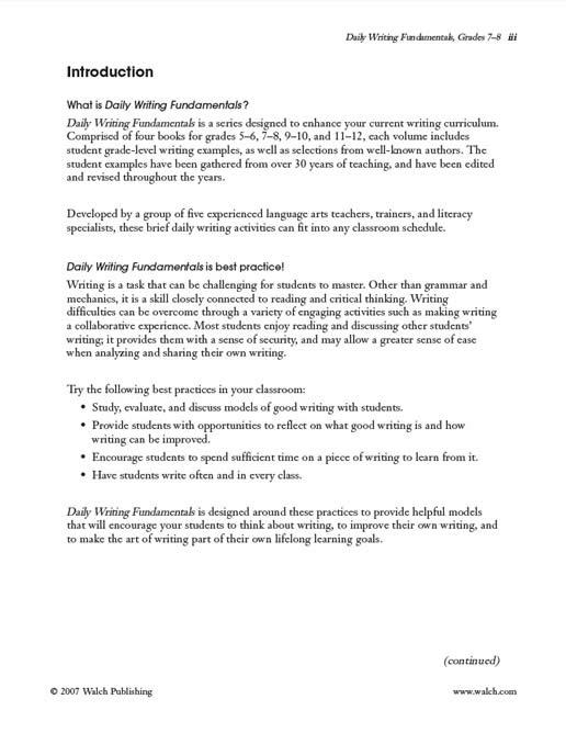 Daily Writing Fundamentals Grade 7 8