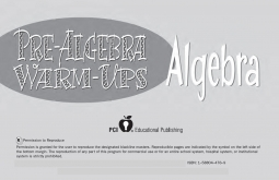 Pre-Algebra Warm-Ups Number Sense and Operations
